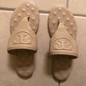 Authentic cream colored TB sandals